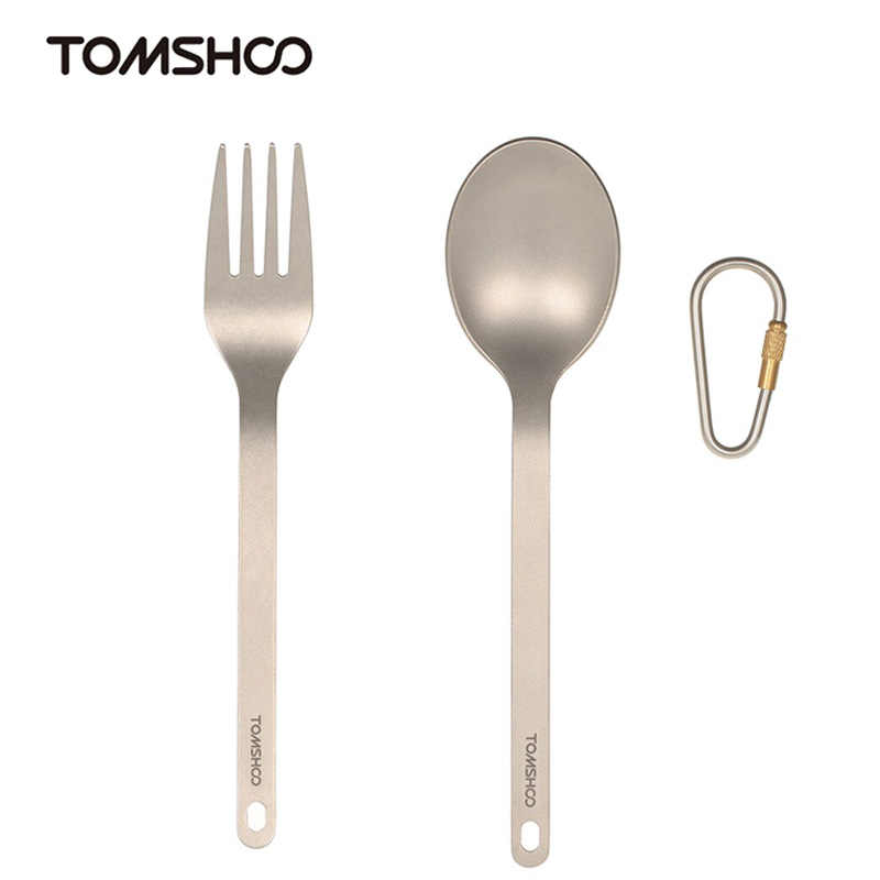 Tomshoo Camping Titanium Spork Bestek Camping Servies Diner Frok Lepel Servies Set Met Storage Sack Outdoor Survival