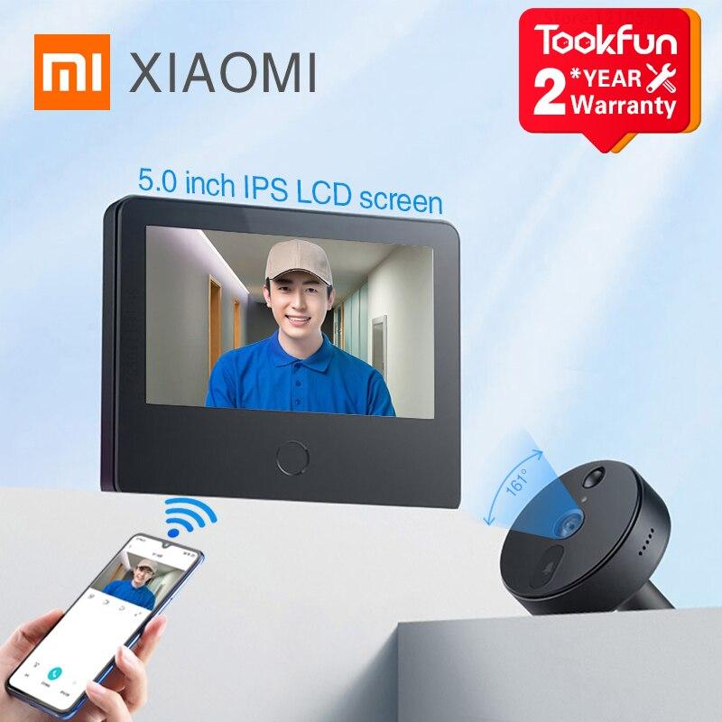Умный дверной звонок Xiaomi, 5,0 дюйма, ЖК-экран, HD, ночное видение, широкий угол обзора 161 °, видеодомофон, беспроводной звонок, дверной глазок, пр...
