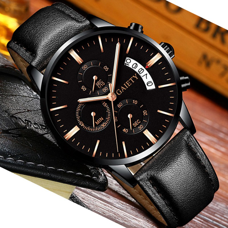 2019 relogio masculino watches men Fashion Sport Stainless Steel Case Leather Band watch Quartz Business Wristwatch reloj hombre 5