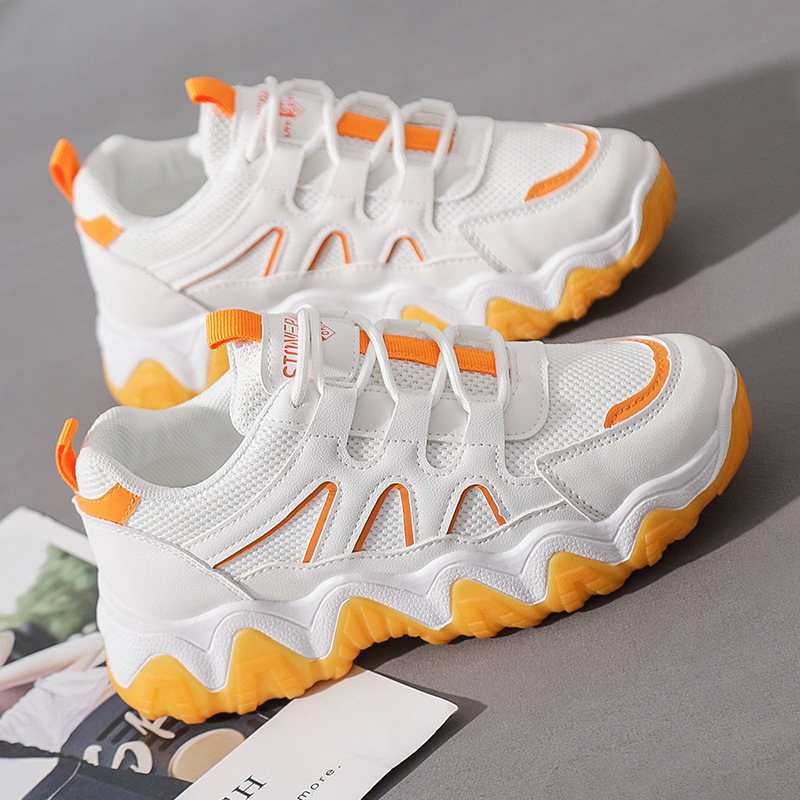 New Women's Sneakers 2020 Spring White Running Shoes Korean Thick Bottom Women's Wave Shoes Casual Sports Shoes ZP-31