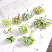 6 Pcs DIY Artificial Plastic Flowers Fake Grass Plants Wedding For Scrapbooking Wreath Wedding Home Decoration Party Supplies(China)