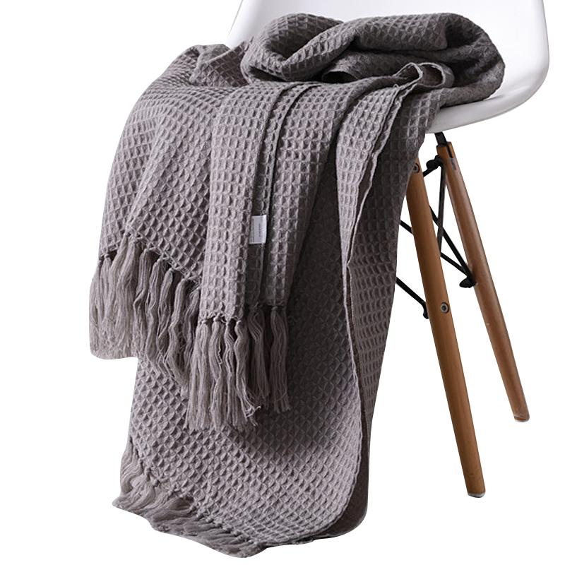 56   Solid Knitted Waffle Plaid Blanket With Tassel Nordic Modern Soft Blanket For Bed Chair Sofa Couch Home Nap Blanket Gray
