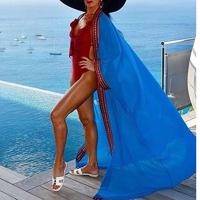 2020 Chiffon Plus Size Maxi Dress Embroidered  Beachwear Bikini Cover Up Kaftan Beach Tunic Bath Dress Robe Plage Swim Cover Up