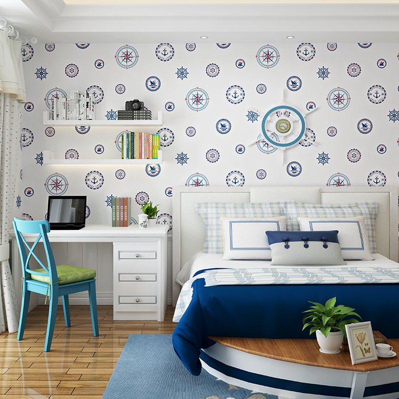 Mediterranean Wallpaper Modern Stylish Bedroom Background Wall Thick Non-woven Sailboat Blue Circle Cartoon Wallpaper Roll For Kids Student Dormitory Computer Desk Background Walls Decoration Fresh Stylish Wallpaper