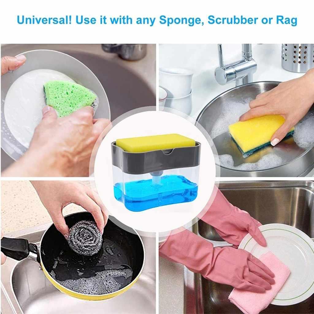 2-en-1 porte-éponge distributeur de savon salle de bain presse manuelle distributeur de savon liquide distributeur de savon et éponge Caddy 13 onces outils