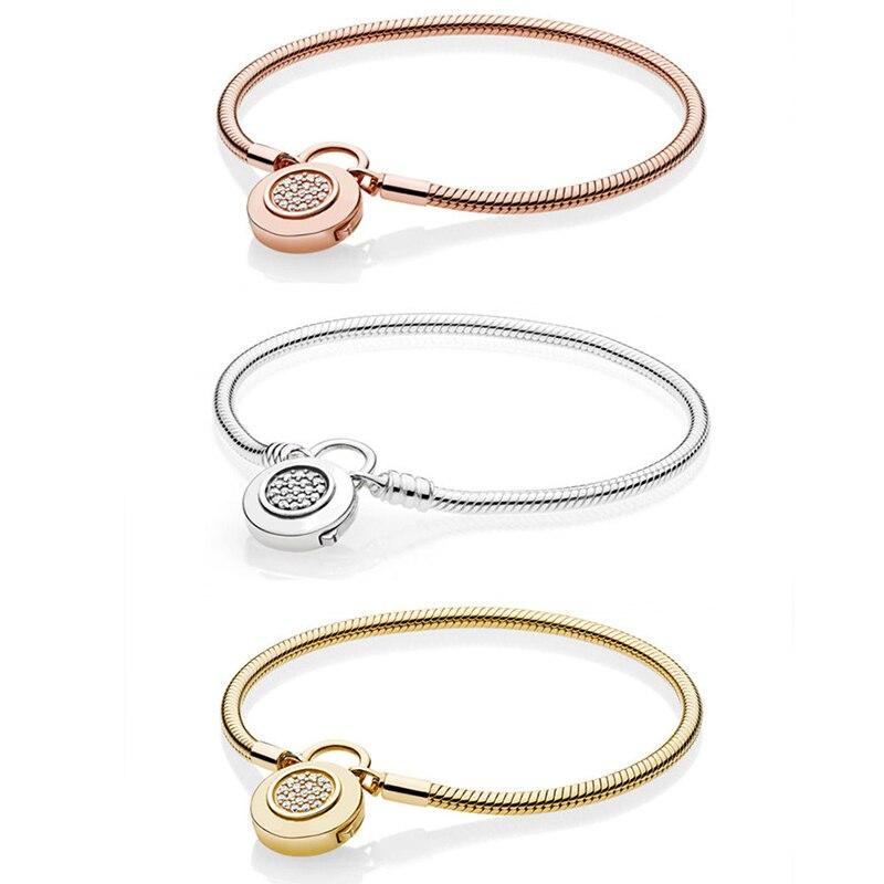 2020 New 100% S925 Pandoras Basic Classic Three Colors Lock Your Heart Smooth Lock Bracelet DIY High Quality Fashion Jewelry