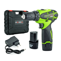 12v Hand Cordless Screwdriver Rechargeable Drill Mini Electric Drill Two Lithium Battery Tools Plastic Case Combo