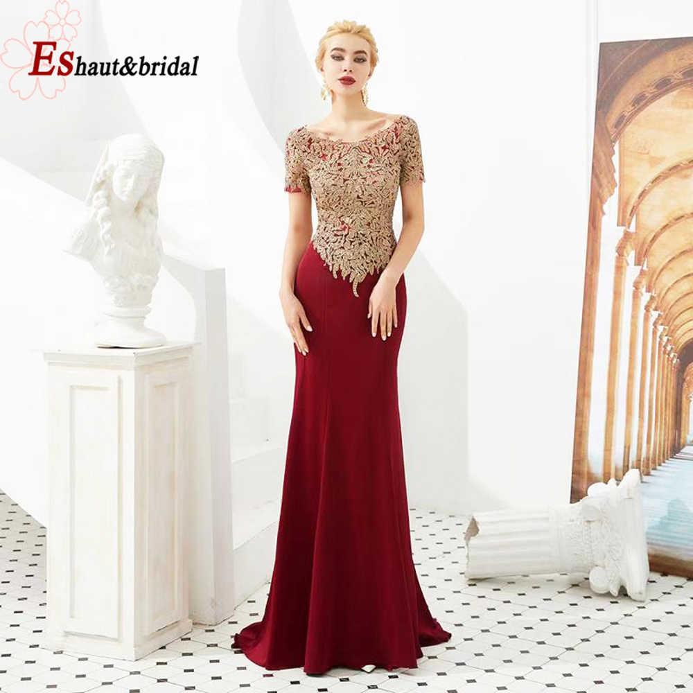 2019 Vintage sirena Madre del vestido de noche de novia mangas cortas cristal encaje apliques Satén de tamaño grande vestidos formales nupciales