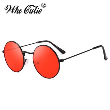 Małe Retro okrągłe okulary przeciwsłoneczne damskie marka projekt Vintage Punk Hippie męskie okulary przeciwsłoneczne żółte czerwone koło odcienie obiektywu kobieta S362 tanie i dobre opinie WHO CUTIE CN (pochodzenie) WOMEN Akrylowe ROUND Adult STOP MIRROR Gradient Przeciwodblaskowe UV400 50MM S362 fashion thin Metal Frame flat top Hip Hop 90s cosplay
