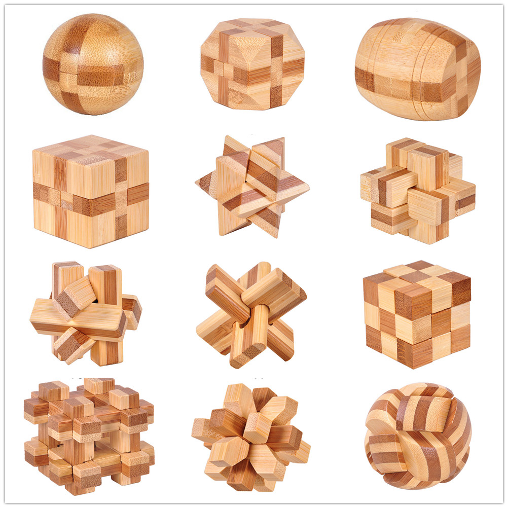 12 Style IQ Brain Teaser Kong Ming Lock 3D Wooden Interlocking Burr Puzzles Game Toy Bamboo Small Size For Adults Kids