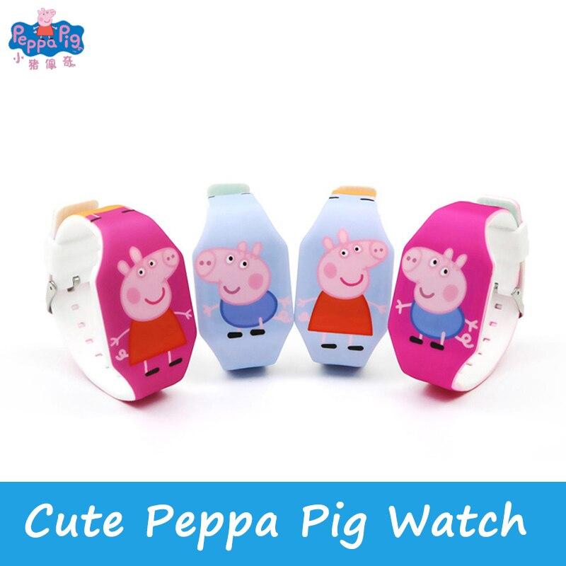 LED Cartoon Luminous Watch  Peppa Pig Watch Fashion Children Students Ultra-thin Electronic Watch Hand Toy Gift