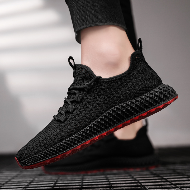 Weweya Black Shoes Men Casual Breathable Lace Up Sneakers Men Mesh Non-slip Hollow Male Footwear Light Tenis Shoes For Men