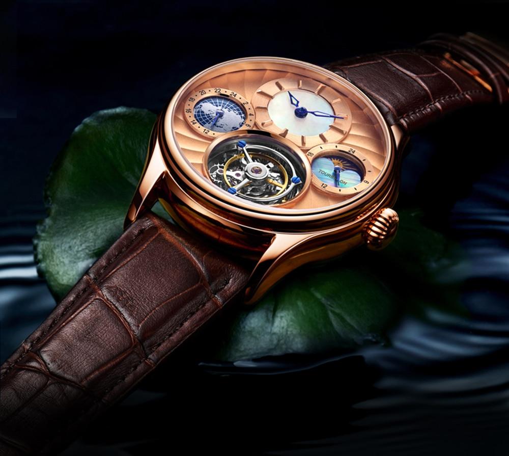 Original Tourbillon watch GUANQIN 2019 NEW clock men waterproof mechanical Sapphire leather top brand luxury Relogio Masculino 17