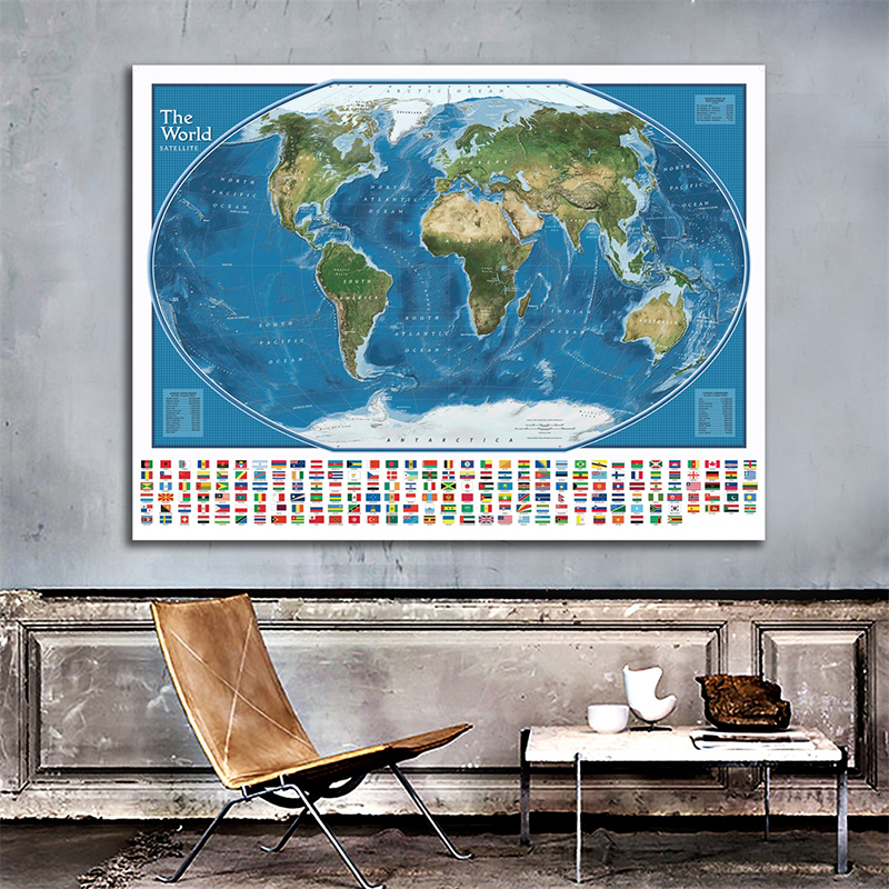 150x100cm Non-woven World Map With National Flags The World Satellite Map Poster With Largest Water Bodies And Landmasses Rank
