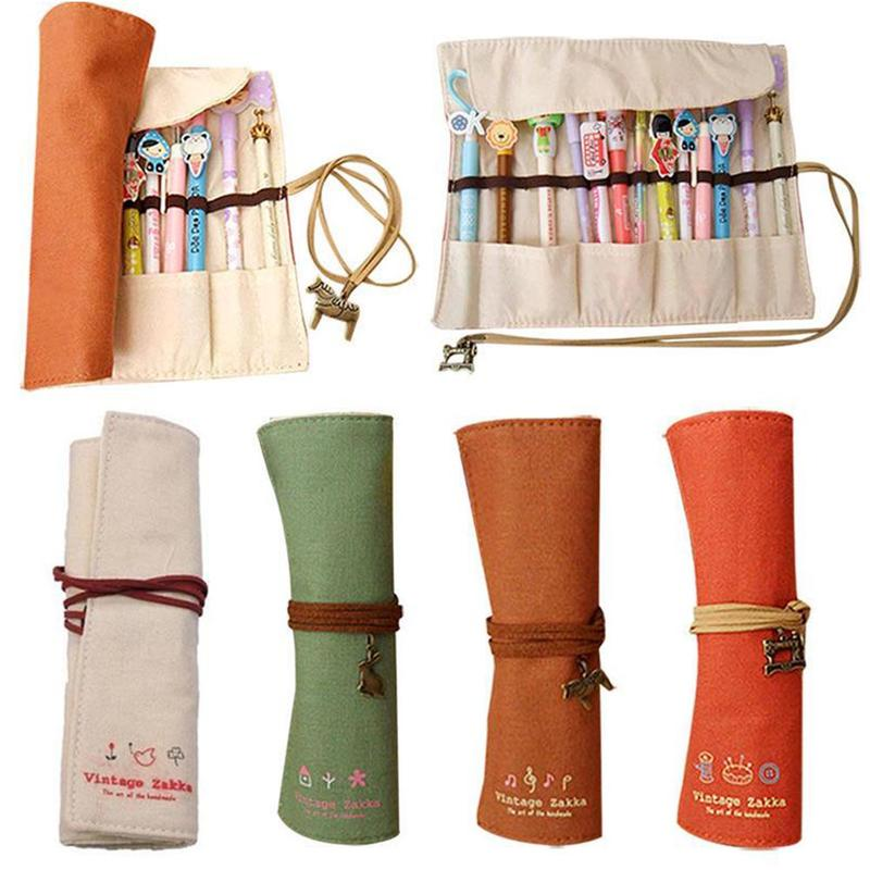 22*19cm Korean Stationery Pencil Bag Canvas Personality Curling Pen Bag Creative Canvas Curtain Elegant Makeup Pencil Case