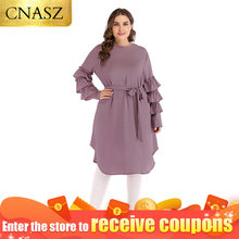 Islamic clothing turkish plus size pearls tunic tops long sleeve blouse muslim dresses for women(China)