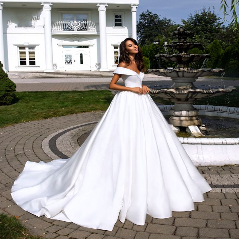 Vestido De Novia White Elegant Satin A-Line Wedding Dress Sexy V-Neck Off The Shoulder Wedding Gown Simple Bride Dress