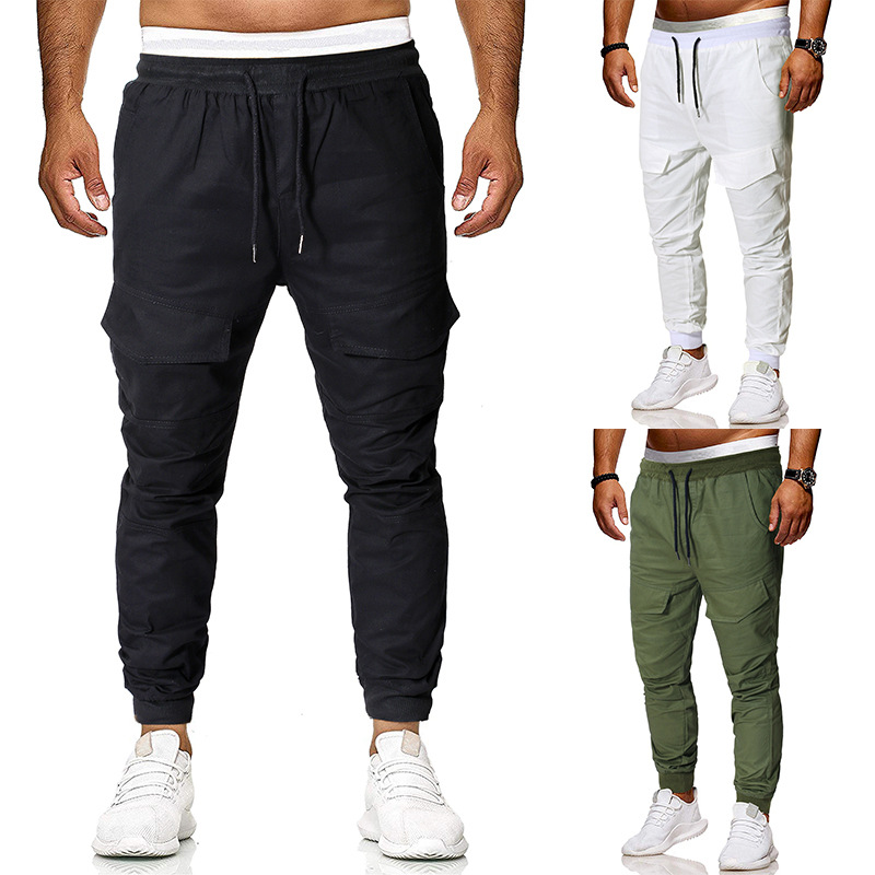 2019 Autumn New Style Casual Pants Men Fashion Solid Color String Belt Versatile Ankle Banded Pants Trousers
