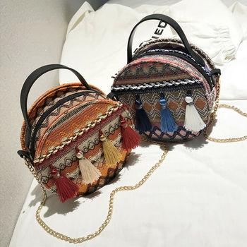 Unique national style hand chain small round bag retro fringe tote bag shoulder crossbody bag handbag