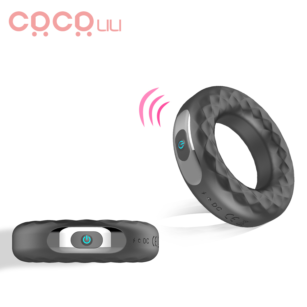 Vibrating Penis Ring Silicone Cock Ring Delay Ejaculation Erection Lock Ring Penis Vibrator Long Lasting Erotic Sex Toys For Men