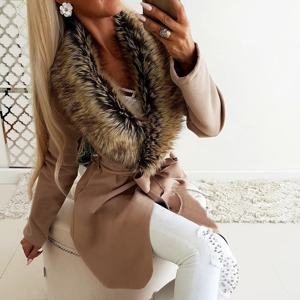 High Quality Coat Women Winter Fur Collar Thicken Warm Wool Coats 2019 Fashion Lady Sashes Woolen Coat Solid Outwear Winter D20