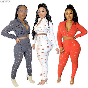 2020 Women Sets Summer Tracksuits Hole Zipper Top+Pants Suit Two Piece Set Sporty Casual Night Club Party Overall Outfits GL9588