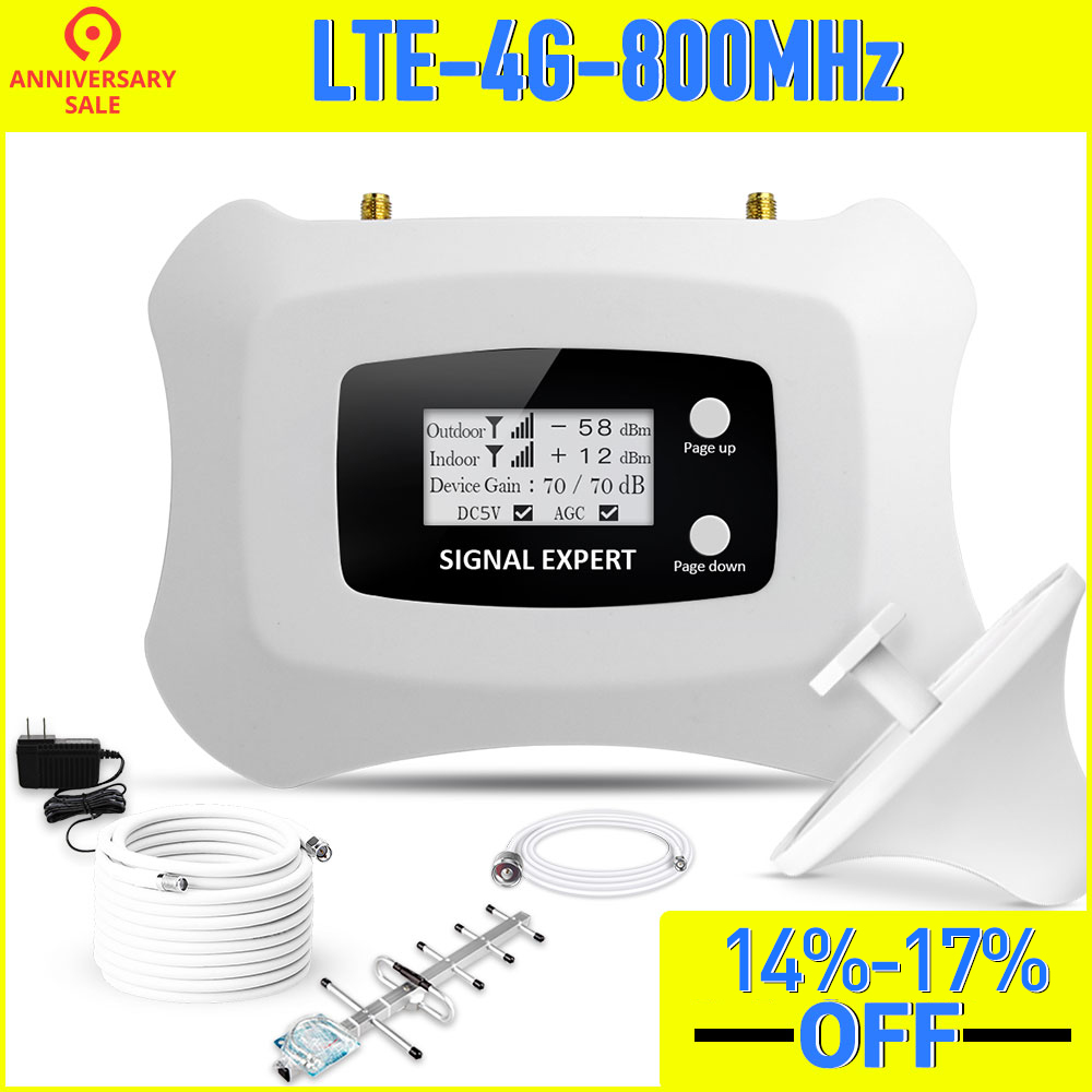 Real Smart LTE 4G 800mhz Mobile Signal Booster 4g Repeater LTE 4g Cellular Signal Amplificador With Yagi +Ceiling Antenna Kit