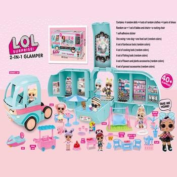 LOL, muñecos sorpresa originales DIY, 2 en 1, coches de juguete GLAMPER Bus, juego de muñecas, juegos de casa, vestir, gameToys para niñas, regalos de cumpleaños 2CZ