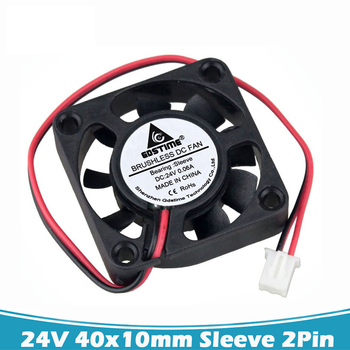 2 Pcs Gdstime DC 24V 2Pin 4010 3D Printer Cooler Fan 4cm 40mm 40x10mm Ventilation Axial Flow Brusheless Case Cooling Fan 50pcs gdstime dc 24v 40mm 40x40x15mm 2 pin server square axial cooling cooler fan