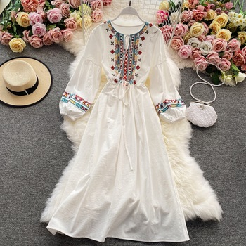 Linen Dress For Women With Embroidery, Long Sleeve Dress Elegant Ethnic Boho Bohemian White Clothes Beach Dresses 1