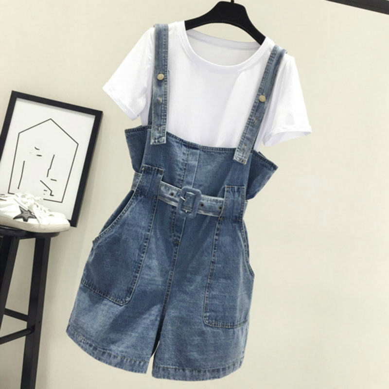 2020 Summer Women Clothing Denim Suspenders Jumpsuits Strap Rompers Shorts Loose Casual Overalls Shorts Pants Female Playsuits