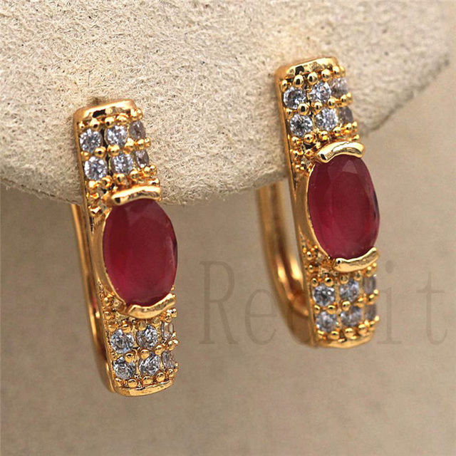 Luxury hoop Earrings Gold Filled Red Green Zircon Earring Vintage Jewelry for women s earrings Party.jpg 640x640 - Luxury hoop Earrings Gold Filled  Red Green Zircon Earring Vintage Jewelry for women's earrings Party Wedding accessories