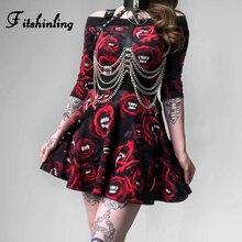 Fitshinling Rose Print Gothic Women Matching Sets Belt Off Shoulder Crop Top Skirt 2 Piece Set Punk Harajuku Autumn Outfits Sale