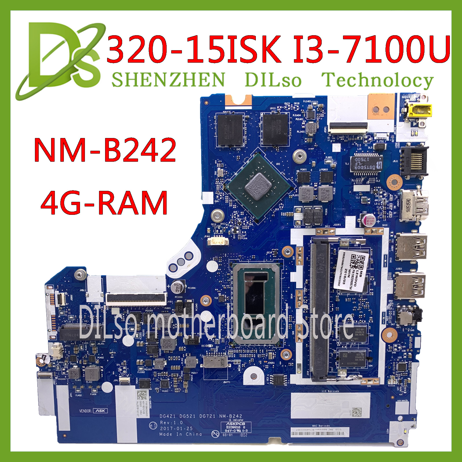 KEFU NM-B242 Mainboard For Lenovo 320-15ISK 520-15ISK Motherboard DG421 GD521 DG721 NM-B242  I3-7100U GT940MX 100% Test Original