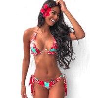 Print Bikini Women 2021 Sexy Swimwear Halter Push Up Swimsuit Bandage Bikini Set Brazilian Bathing Suit Beach Wear Swimming Suit 1