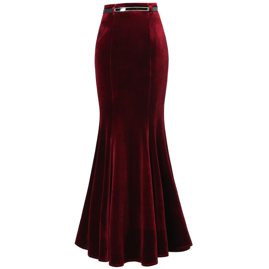 Plus Size 5XL! Autumn Vintage Velvet Black Maxi Long Mermaid Skirt 2020 Fashion Women Elegant Velour Skirts With Belt