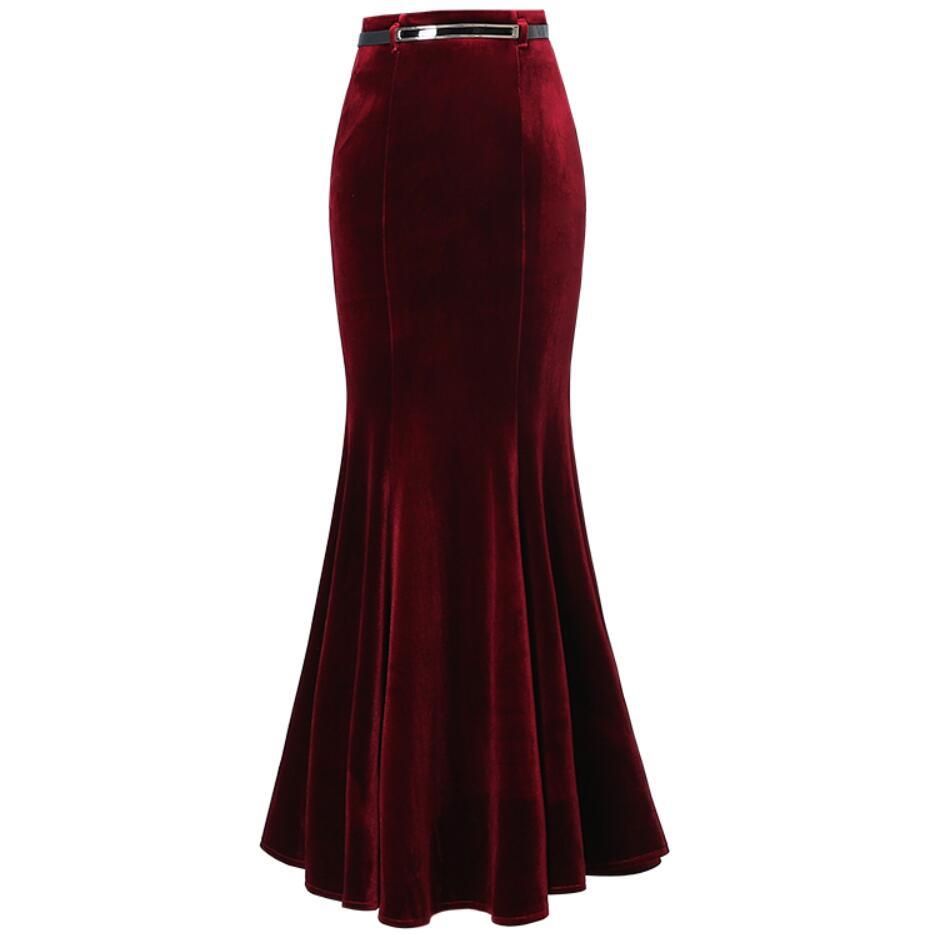 Plus Size 5XL! Autumn Vintage Velvet Black Maxi Long Mermaid Skirt 2020 Fashion Women Elegant Velour Skirts With Belt