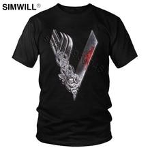 Men's V Viking T Shirt Cool Valhalla Odin T-shirt Ragnar Lothbrok Tee Short Sleeves Pure Cotton Printed Tshirt Trend Summer Tops