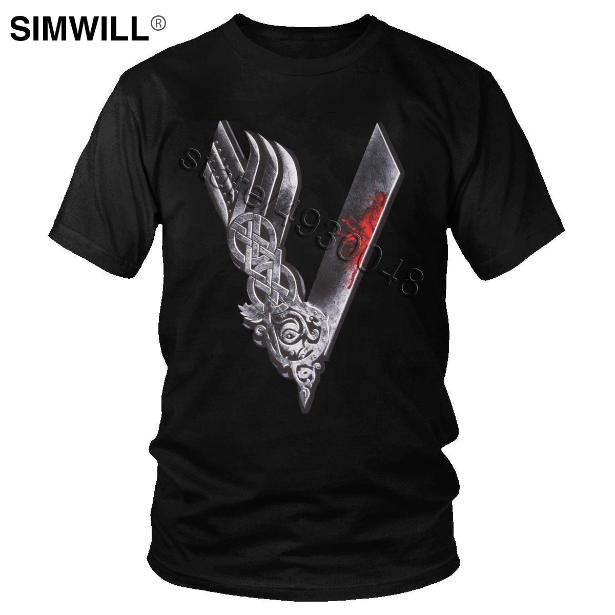 Men s V Viking T Shirt Cool Valhalla Odin T shirt Ragnar Lothbrok Tee Short Sleeves