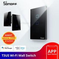SONOFF T3 Smart Wifi Wand Licht UNS Schalter Schwarz 120 Typ Mit Grenze 1/2/3 Gang 433 RF/APP/Touch Control Arbeitet Mit Google Hause