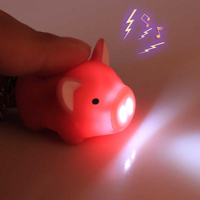 Porco bonito led chaveiros lanterna som engraçado brinquedos chaveiros jóias pvc chaveiro para crianças presentes saco encantos