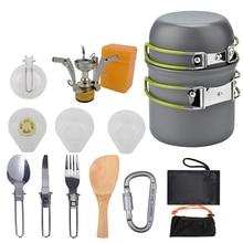 Походная посуда для походов на открытом воздухе алюминиевая кухонная посуда из сплава для приготовления пищи для пикника походная миска кастрюля набор для 1-2 человек