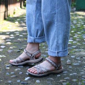 Image 4 - GRITION Strand Sandalen Frauen Sommer Outdoor Flache Sandalen Damen Offene spitze Schuhe 2020 Leichte Atmungsaktive Wanderschuhe Wandern Sandalen