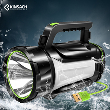 цена на Super bright LED searchlight Multi-function flashlight USB rechargeable Waterproof camping torch Can be output