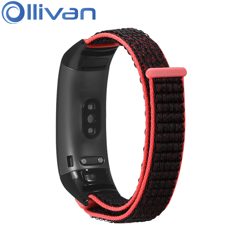 OLLIVAN Stick Nylon Loop Wrist Strap For Huawei Honor Band 5 4 Wristband Accessories Bands For Honor Band 4 Band 5 Straps Red