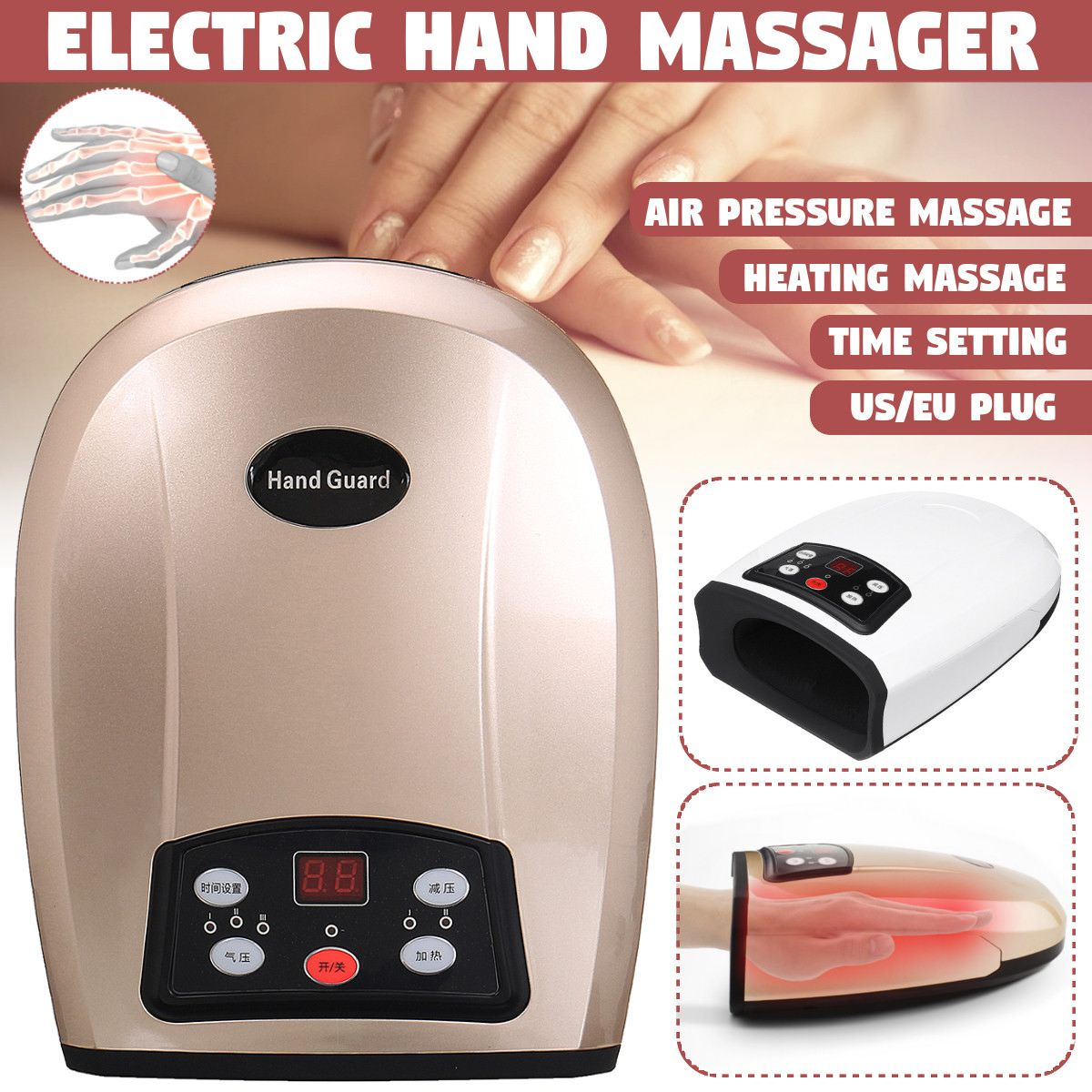 100-240V Heated Hand Massager Physiotherapy Equipment Pressotherapy Massage Device Air Compression Finger Massager Apparatus