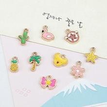 trendy japanese korean girl cute earring alloy cactus small flowers coconut tree flamingo pendant material diy handmade jewelry