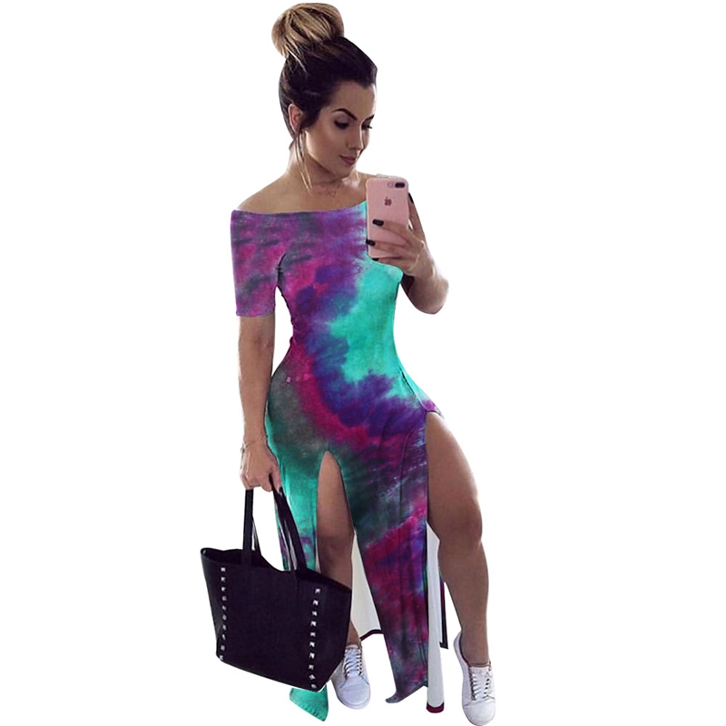 <font><b>High</b></font> Split Long <font><b>Maxi</b></font> <font><b>Dress</b></font> Summer Casual Tie Dye Print Off Shoulder <font><b>Sexy</b></font> Bodycon <font><b>Dress</b></font> Women Elegant <font><b>Slit</b></font> Beach Club Party <font><b>Dress</b></font> image