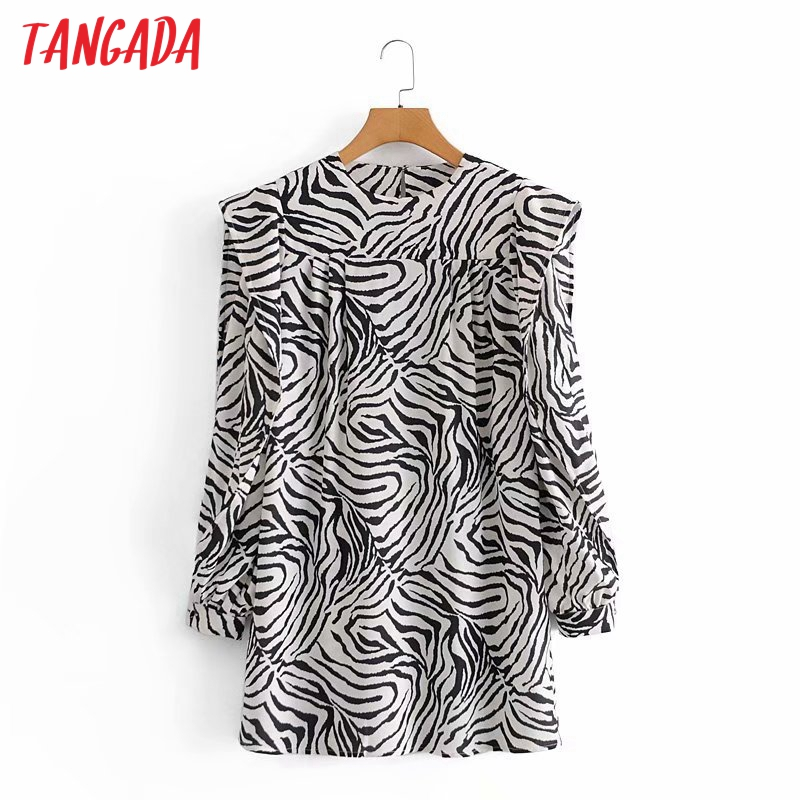 Tangada Frühling Mode Frauen Tier Druck Rüschen Kleid Langarm Büro Damen Mini Kleid 5D19