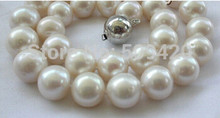 free shipping > stunning wow big 13mm round white freshwater cultured pearl necklace silver(China)